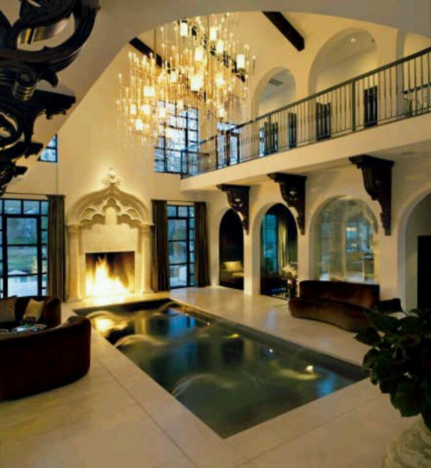 Indoor Pool Fireplace
